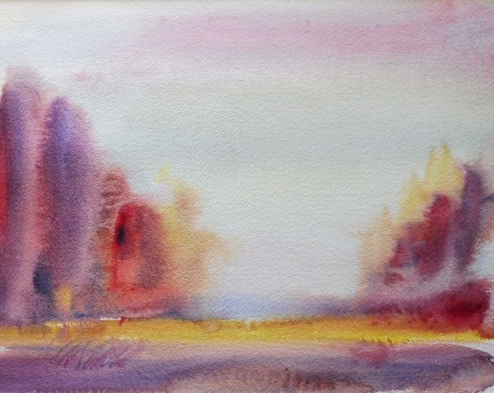 EARLY AUTUMN, Upper Arley. Original impressionistic Watercolour Painting. With mount / mat ready to frame.