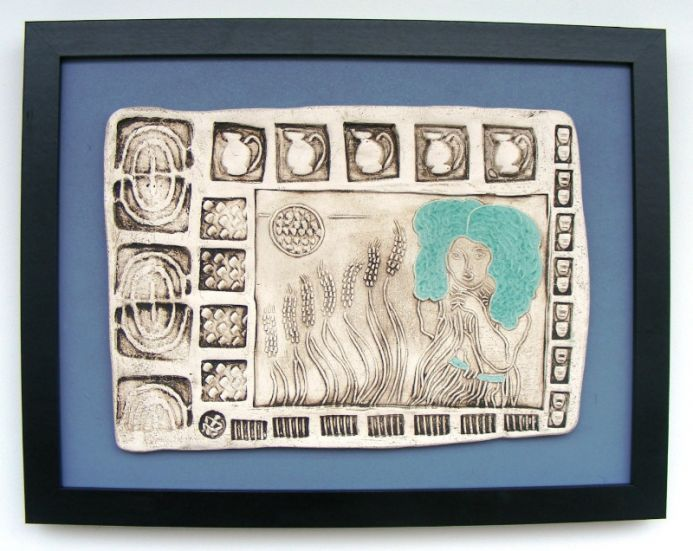 Ceres – Goddess of Fertility, Agriculture, Nature, and Seasons - (Framed Ceramic Panel)