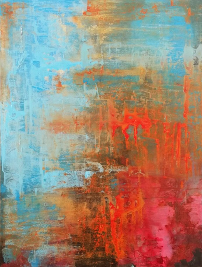 Abstract Painting Winter Red Blue Gold