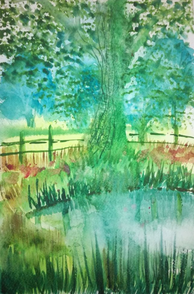 Green tree by pond