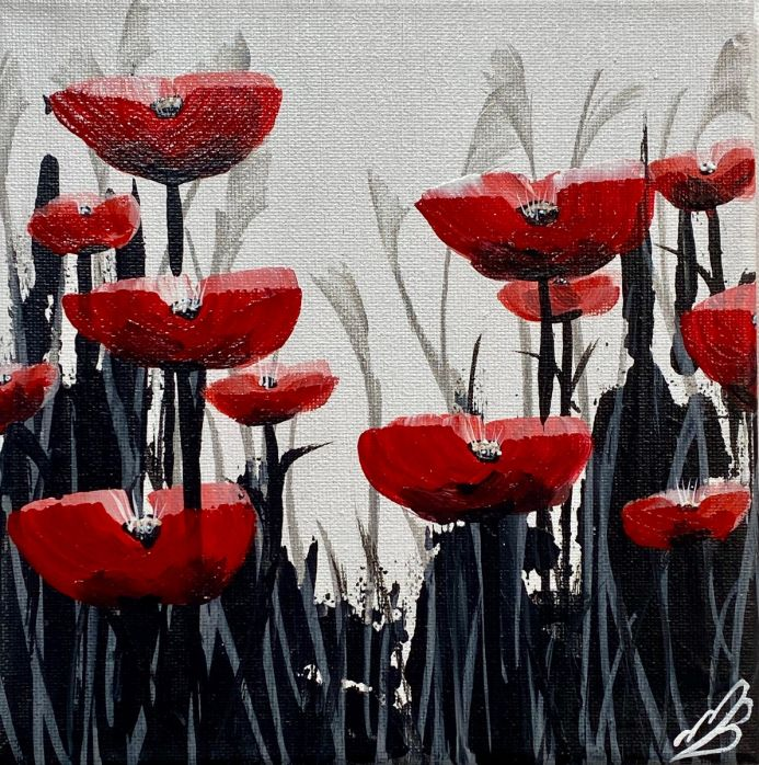 Red Poppies against a White Sky