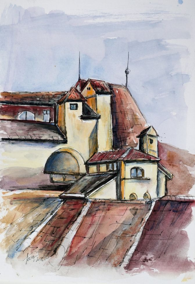 Roofs in the old town - watercolor and ink on paper