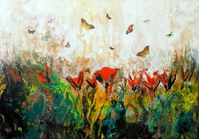 The valley with butterflies large modern landscape painting art with flowers and butterflies