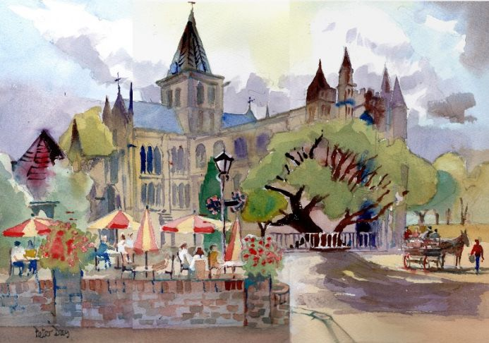 Rochester Abbey, Cathedral. Kent. Cafe, Restaurant, Horse & Cart.
