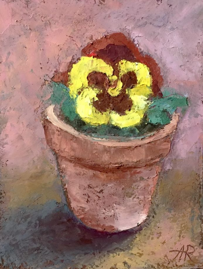 Yellow Pansy  Floral Flowers Painting