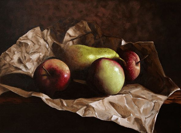 Apples, pear and paper