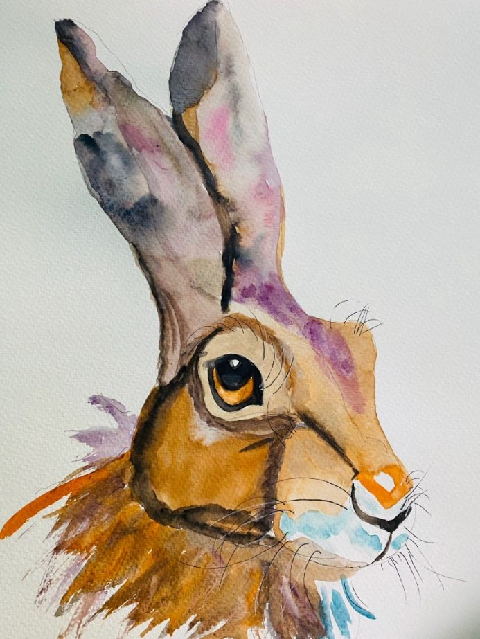 Watercolour portrait hare A3
