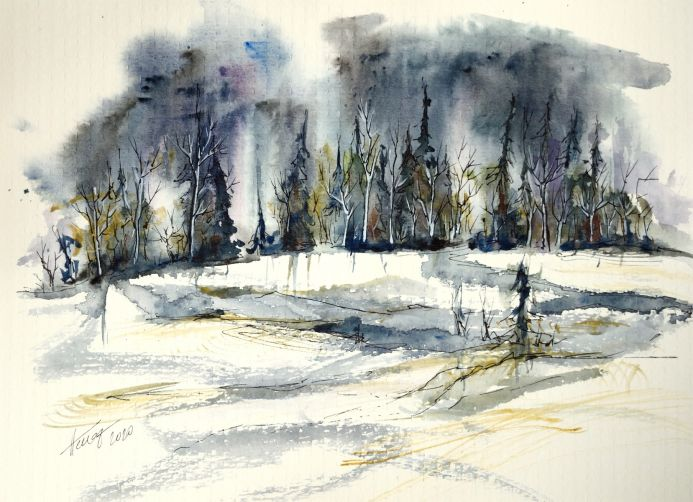 The snowy land - watercolor and ink on paper