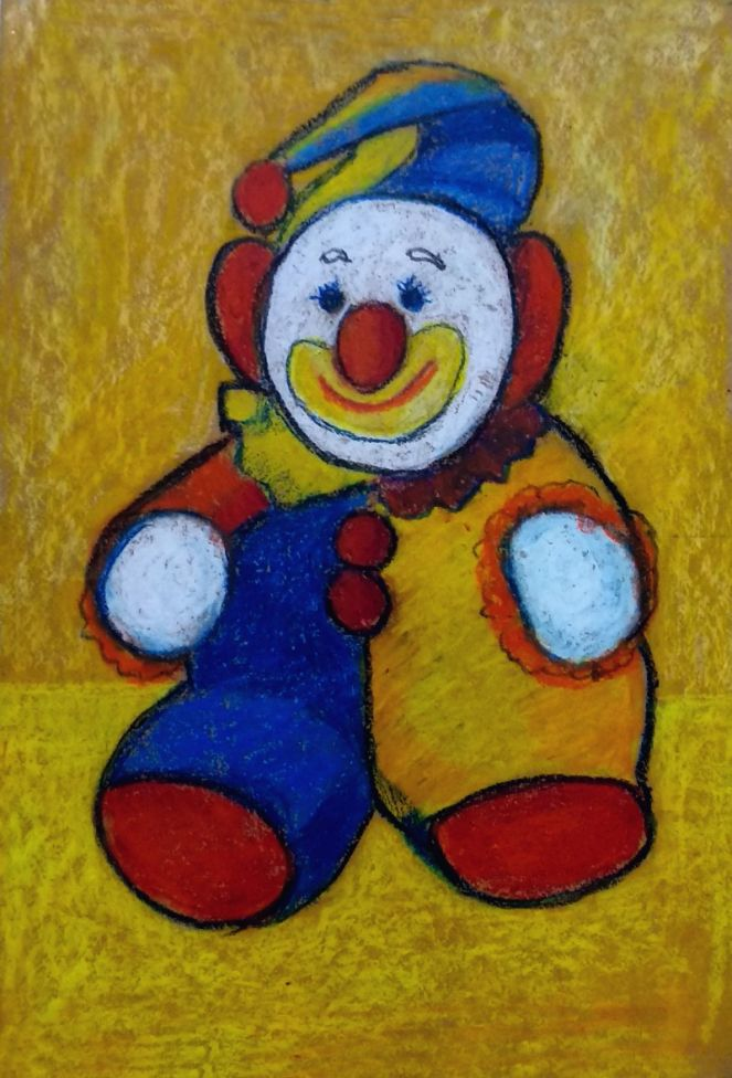 The Clown - oil pastel drawing on handmade paper