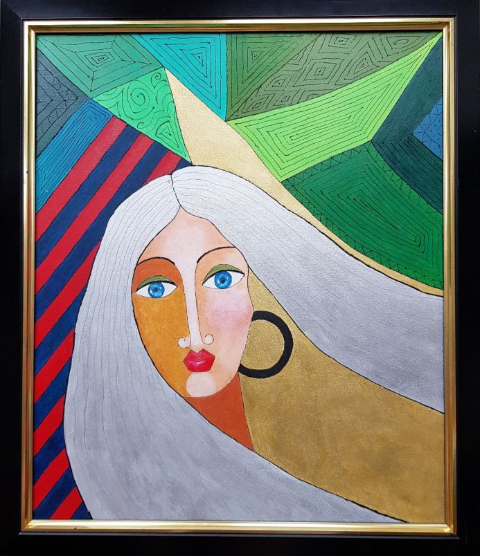 """GIRL WITH SILVER HAIR 26""""x28"""""""