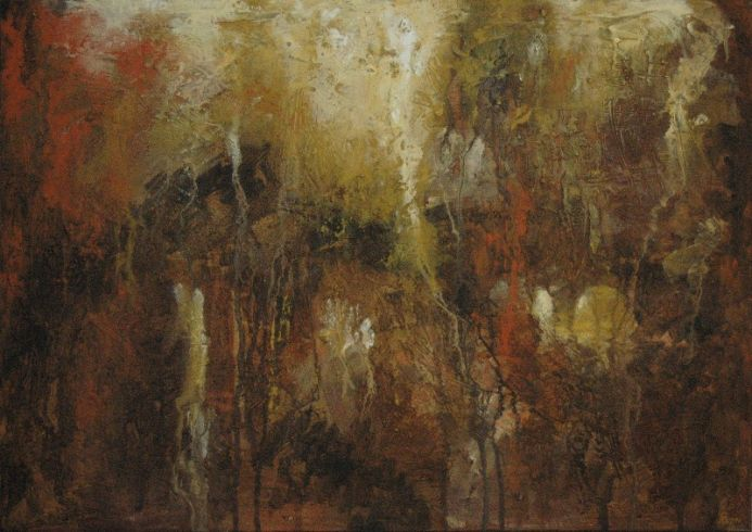 """Autumn Night"". Original contemporary abstract painting."