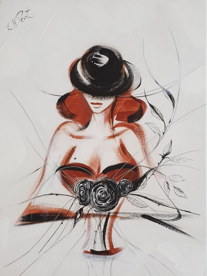'Little Black Hat with Flowers' Original Painting on Canvas