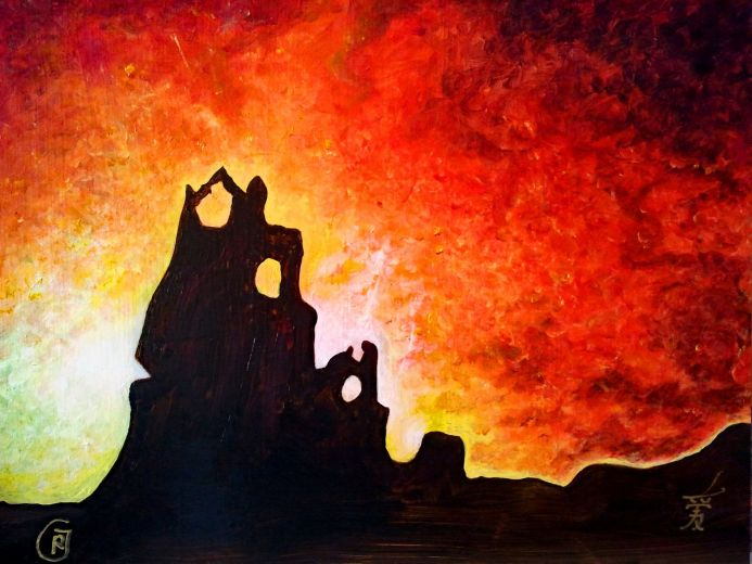 Scenic Sunset, painting by Rhia Janta-Cooper