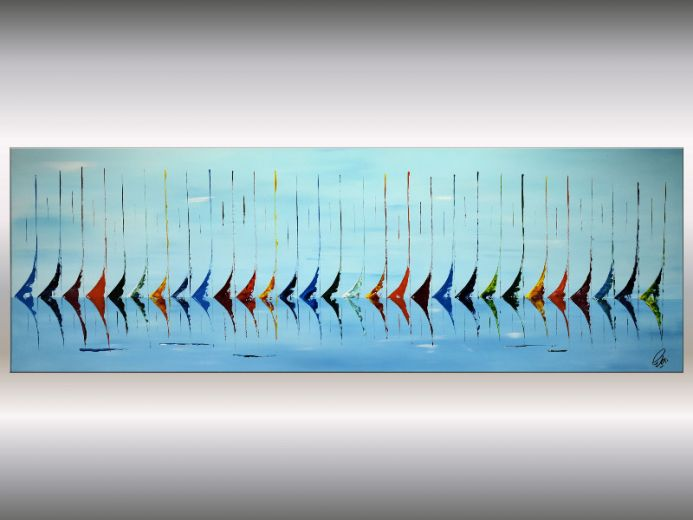 Big Blue Race - Abstract Sailboat Painting on Stretched Canvas