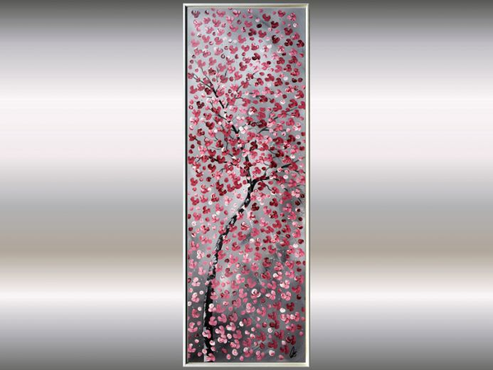 Hundred Wishes - Acrylic painting in frame, red cherry blossoms, original