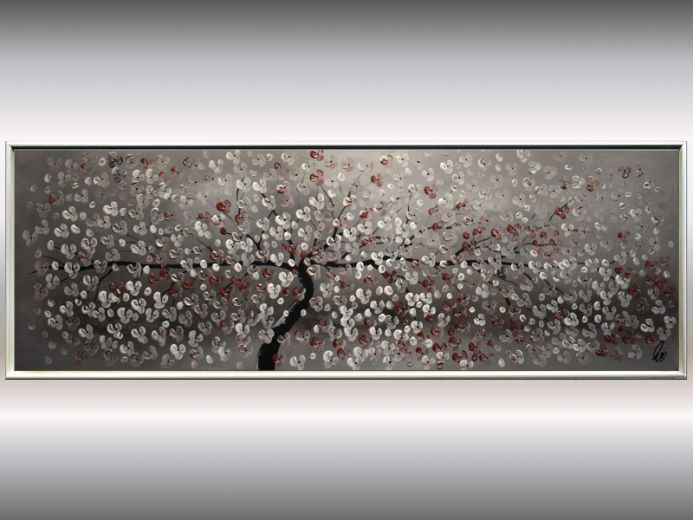 Blooming Tree - Acrylic painting on canvas, framed canvas wall art