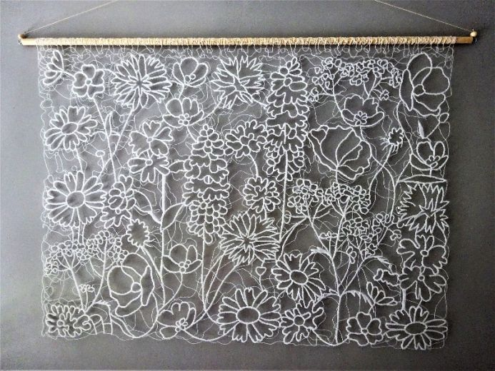 White Lace Wildflowers Wall Hanging