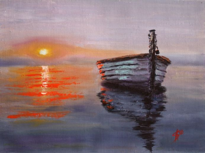 Eventide / Seascape. Boat