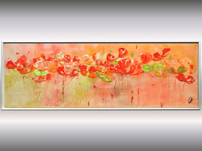 Springflowers - Abstract Flower Painting, framed canvas wall art