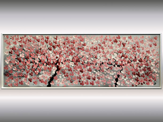 Friends - Acrylic painting in frame, abstract blooming tree