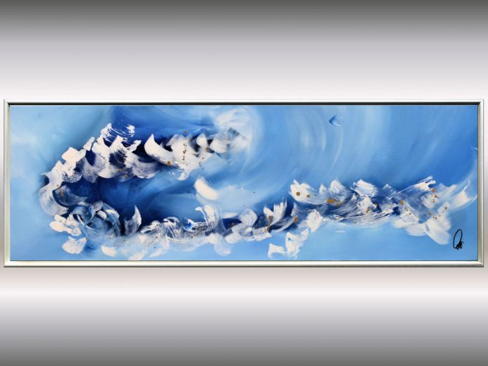 Blue Symphony - Blue golden abstract painting on canvas, framed artwork
