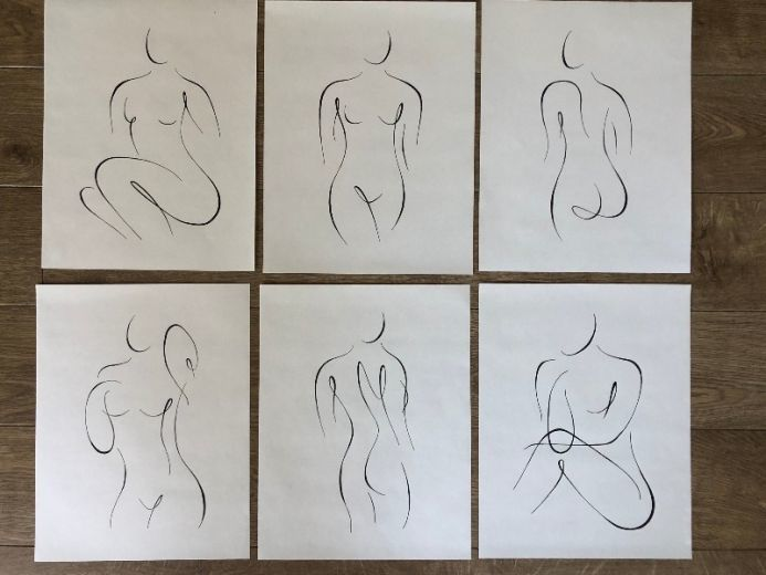 Nearly Nude set of 6 line drawings