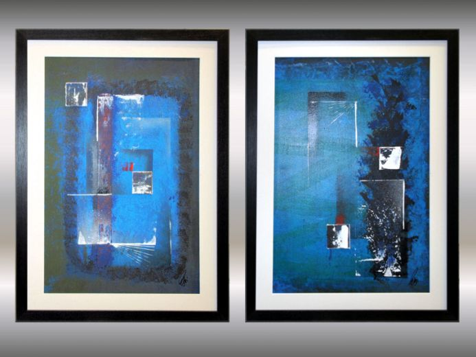 Blue Composition - Framed, matted acrylic paintings on paper