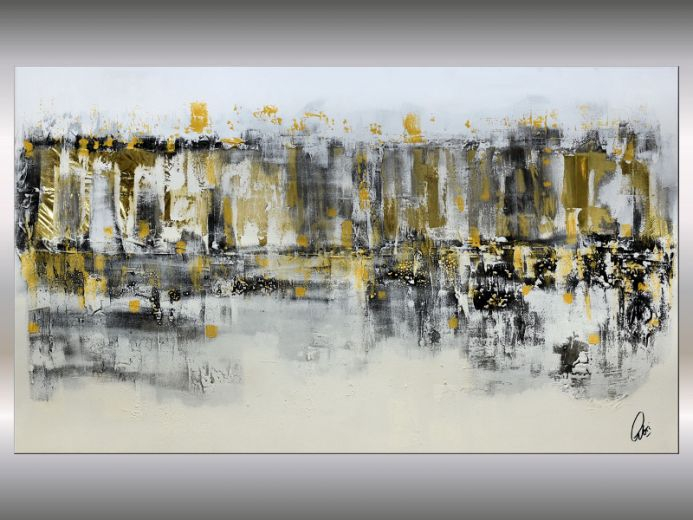 Golden Windows - Abstract Cityscape on Stretched Canvas