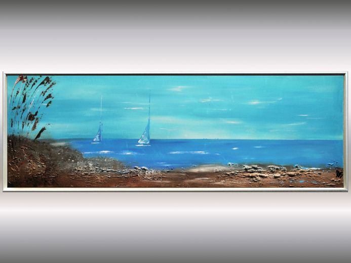 At the Shore- Acrylic seascape painting in frame, abstract artwork