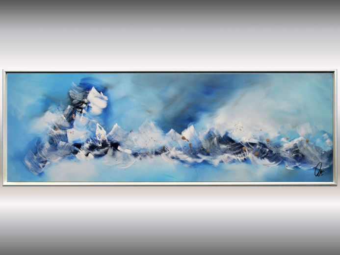 Sealife- acrylic painting in framed, abstract seascape