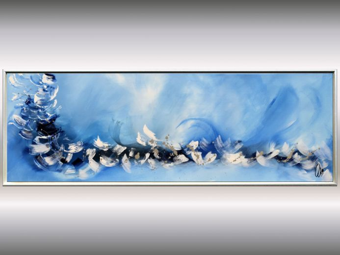 Blue Symphony II - Blue silver abstract painting, framed artwork