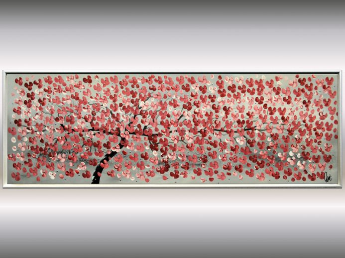 Early Summer - Framed acrylic painting, blooming tree