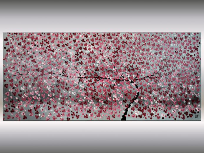 Blooming Tree II - Supersize Painting, Acrylic Cherry Blossom Painting on Stretched Canvas, Original