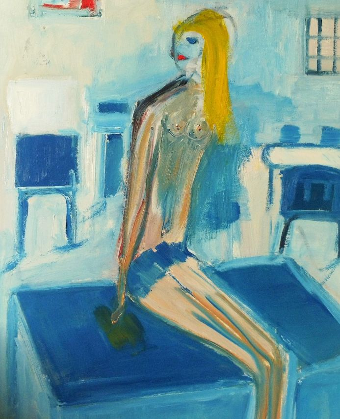 NUDE BLONDE GIRL STUDY SKETCH. Original Figurative Oil Painting. Varnished. Size: 17.8