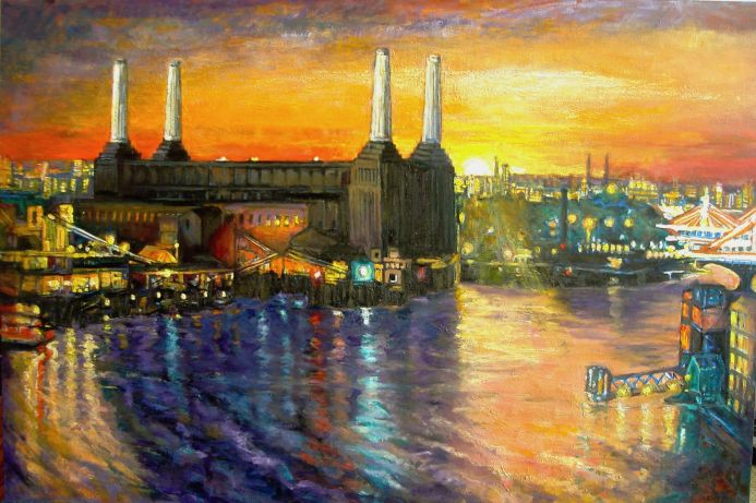 Battersea Power Station at dusk , Giclee print