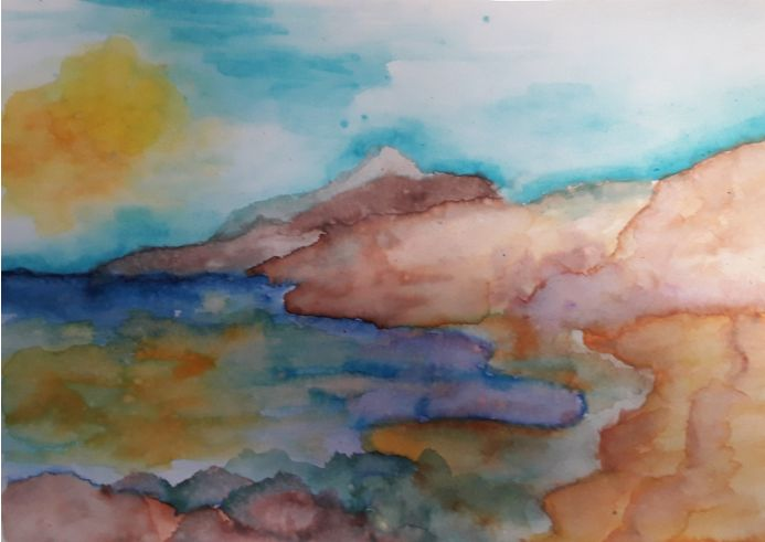 A Day at the Coast Watercolour