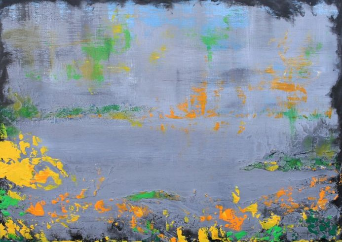 Abstract Stillness at the Lake 59 x 42 cm Textured Painting