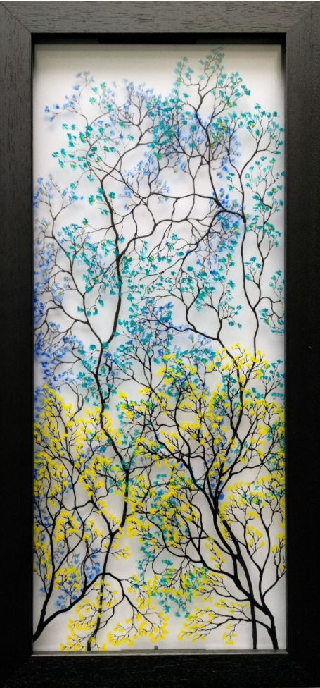 Blossoming Spring (Art on glass painting)