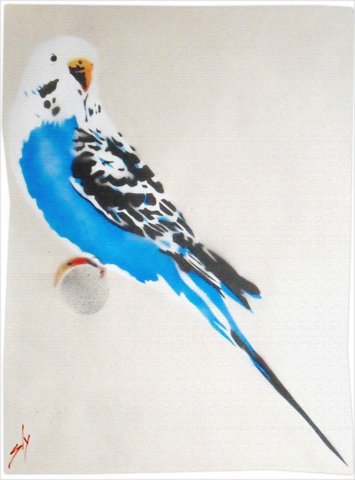 Grandma's Budgie (On Gorgeous Watercolour Paper) + Free Poem