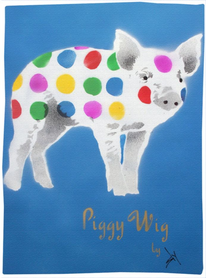 Piggy Wig (blue) with FREE poem! (On gorgeous watercolour paper).