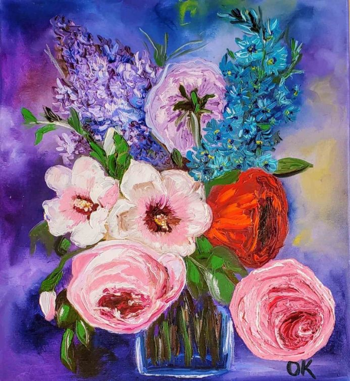 BOUQUET OF SUMMER FLOWERS PINK ROSE WHITE HIBISCUS, RED POPPY, URPLE LILAC , DELPHINIUM MODERN STILL LIFE DUTCH STYLE OFFICE HOME DECOR GIFT
