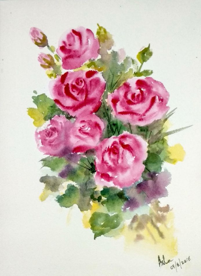 Pink Roses Watercolor loose floral painting