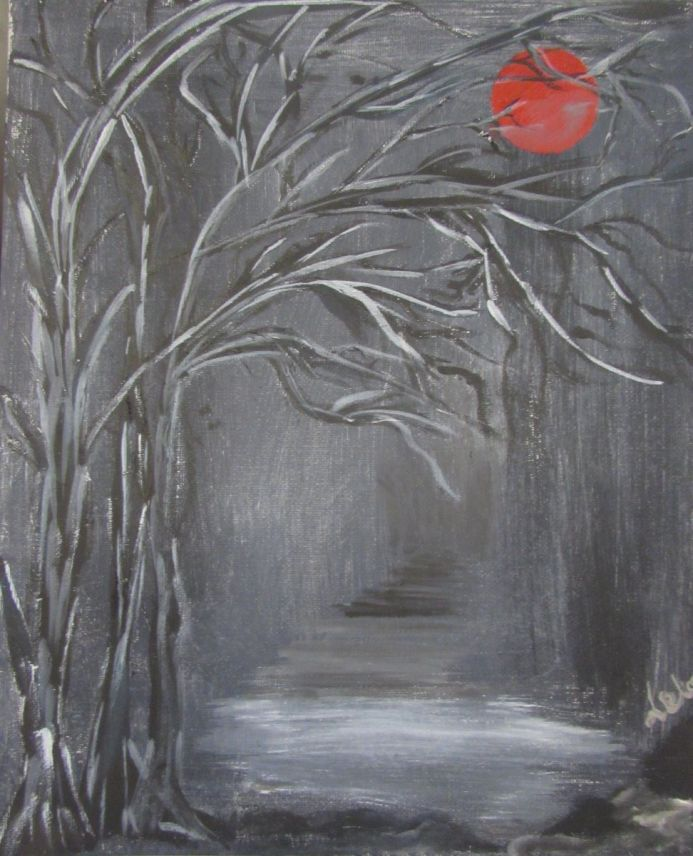 Red Moon on Forest Path