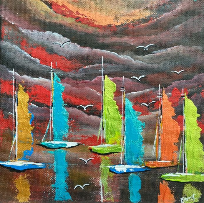 Sailboat Evening Abstract painting 210