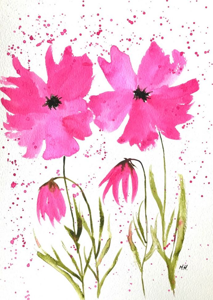Pink flowers watercolour A4 nr 15