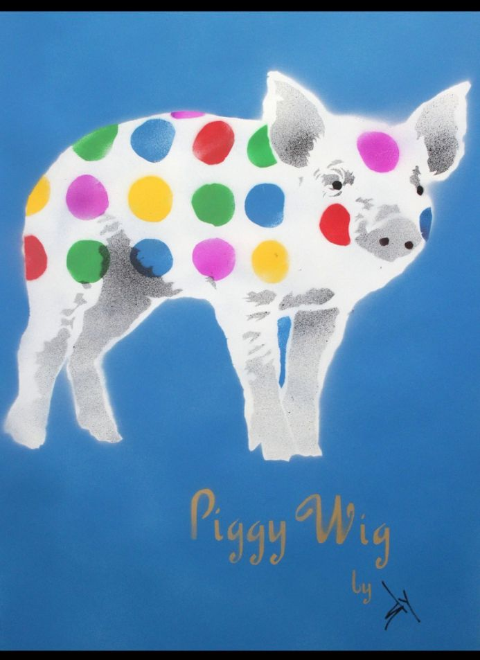 Piggy Wig (blue) (on paper) with FREE poem! (On The Daily Telegraph).