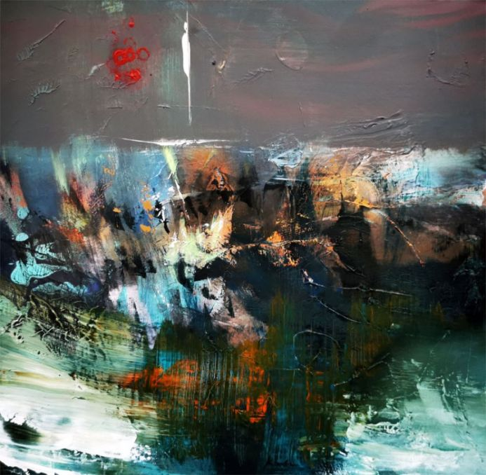 Landscape with red suns beautiful abstract mindscape by O Kloska