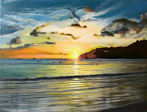 312821 Pacific Sunset painting by Rhia Janta-Cooper