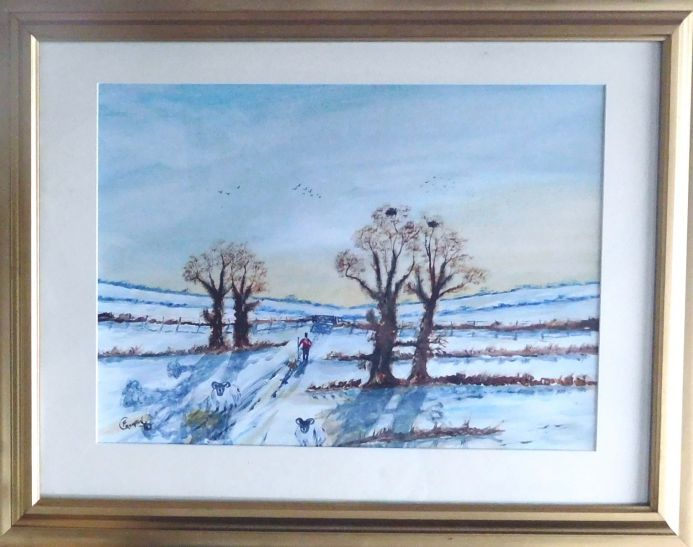 A farmer looking for sheep in the snow in The Isle Of Man  (FRAMED)