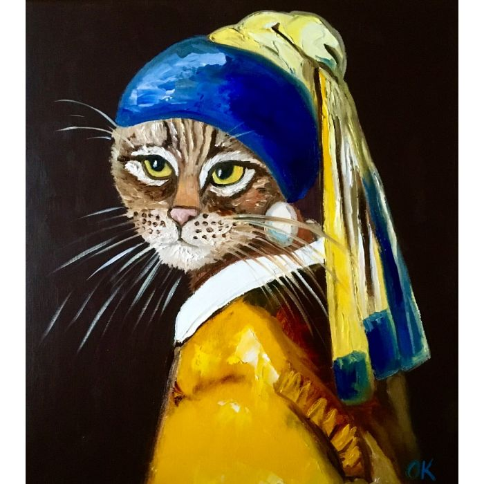 CAT WITH THE PEARL EARRING INSPIRED BY VERMEER PAINTING FELINE ART FOR CAT LOVERS GIFT IDEA HOME DECOR